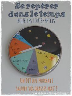 L'aider à se repérer dans le temps : l'horloge des petits |La cour des petits http://www.lacourdespetits.com/aider-se-reperer-temps-horloge-enfant/ #montessori #time #temps