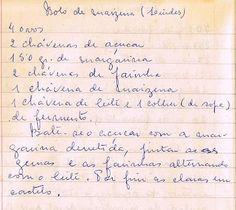 Bolo de Maizena                                                                                                                                                                                 Mais Old Recipes, Vintage Recipes, Other Recipes, Sweet Recipes, Cake Recipes, Portuguese Desserts, Portuguese Recipes, Brownie Cupcakes, Cupcake Cakes