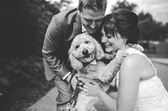 Adorable couple with a happy dog at their wedding, photo by Jennifer Moher Photography | junebugweddings.com