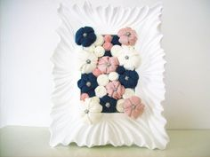 Fabric flower shabby frame wall art  3D design home by mapano