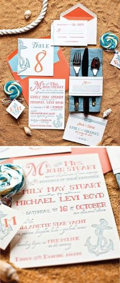 colorful, and custom made, beach inspired stationery set by Southern Fried Paper @ Kathleen