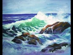"""How to Paint a """"Translucent Ocean Wave on the Rocks"""" Part 1 - Ginger Coo..."""