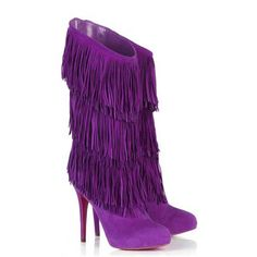 Purple Christian Louboutin Forever Tina Suede Boots