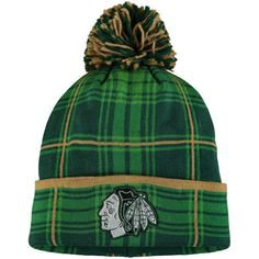 ed0a947dd76 Chicago Blackhawks Reebok St. Patrick s Day Cuffed Knit Hat with Pom