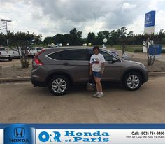 Great experience, informative and happy with the new 2013 CR-V. John Brewer and Dwight Johnson were very helpful and made my car buying experience a happy one. I already recommend Honda to everyone and will continue to do so. Thank you guys for working so hard for me. - Brenda Mayfield, Saturday, May 16, 2015  http://www.hondaofparis.com/?utm_source=Flickr&utm_medium=DMaxxPhoto&utm_campaign=DeliveryMaxx