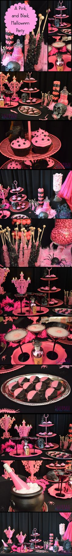 A Fabulous Pink & Black Halloween Party Dessert Table.  The pink laser-cut candelabras are from Target.  Look at all the pink bugs!  Creepy AND cool!