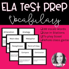 Prepare your students for end of year testing with these 38 ELA Vocabulary Task Cards. One side of the task card has the word, and the other side has the definition.In order to do well on standardized testing, it's imperative that students understand the vocabulary that will be used. These task/index cards are perfect for helping your students master each word. Teaching Vocabulary, Teaching Language Arts, Vocabulary Builder, Secondary Teacher, Secondary Resources, Social Studies Classroom, Middle School Ela, Art Curriculum