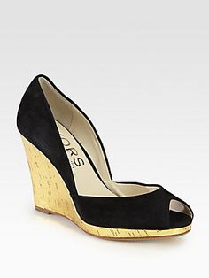 Black & Gold summer wedge - Kors Michael Kors Vail Suede Metallic Cork Wedge Pumps