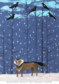 **Ande Cook: Winter Wolf Try a wolf with a patterned background Wolf Illustration, Winter Illustration, Christmas Illustration, Character Illustration, Winter Wolves, Winter Art, Woodland Creatures, Illustrations, Cool Art