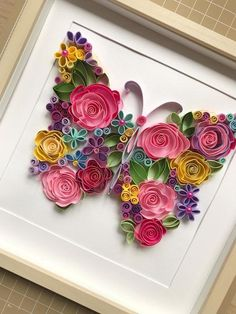 Quilling Art Quilling flowers butterfly Quilling Paper Art Framed floral butterfly Handcrafted original design wall art is part of Quilling flowers Original floral paper butterfly is made in qui - Quilling Butterfly, Paper Quilling Flowers, Paper Quilling Patterns, Quilling Paper Craft, Butterfly Wall Art, Paper Butterflies, Paper Flowers Diy, Paper Crafting, Butterfly Design