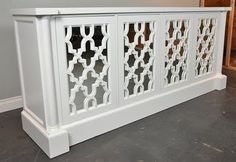 hollywood regency white trellis sideboard-Davenport