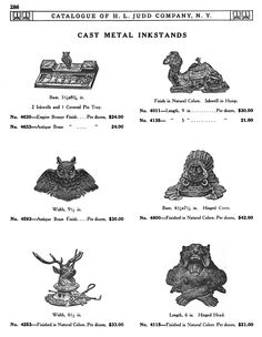 H L JUDD CO., N.Y. cast metal inkstands, Catalogue No. 50, January 1913, pg. 286. owl, Native American, camel, stag, lion
