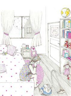 """-la chambre d'Elise- Illustration extraite des """"dernières aventures de Canélou""""  livre pour enfant publié aux Editions de l'Officine"""