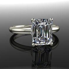 Forever Brilliant Moissanite Engagement Ring Emerald Cut 2.60 CTW – Bel Viaggio Designs