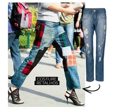 Street Style Patchwork Denim Pants