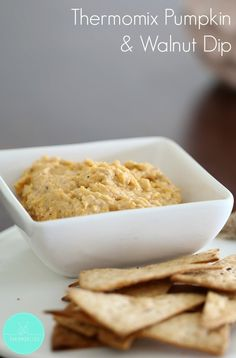 Easy and delicious - our Thermomix Walnut & Pumpkin Dip is perfect served with crackers, vegetable sticks or Turkish bread! Pumpkin Pie Dip, Cheese Pumpkin, Vegan Pumpkin, Dip Thermomix, Dessert Dips, Thanksgiving Desserts, Light Recipes, Easy Desserts, Snacks