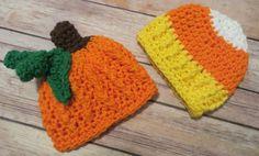 Set of 2 SEASONAL Hats Candy Corn and by kimcrochetcreations