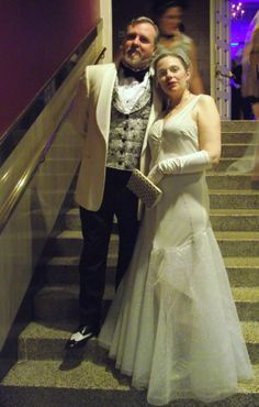 """men's spiderweb evening vest, and ivory velvet """"ice spider"""" gown with net skirt and hand beading"""