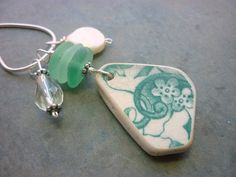 Sea Glass Necklace - Teal Green Beach Pottery Shard Floral Pattern. $32.00, via Etsy.