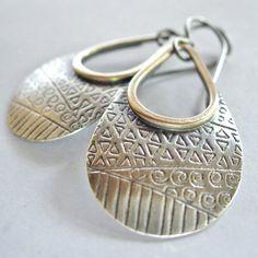 Sterling Silver and Brass Dangle Earrings by jordanfineartjewelry, $43.00