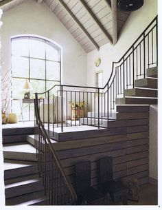 LOVE the detailing of the stairs, pretty brilliant the detailing of the tread height becoming the shiplap wall detail. Pulled from Elle Decor I think