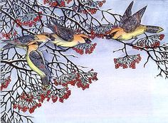 Berry Bandits, from the  Woodcuts of Mary Azarian. Too many beautiful prints available from which to choose at her Web site.