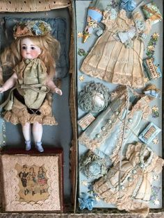 Extravagant lavish French presentation box containing finely modeled 6.75 all bisque doll and trousseau, circa 1885. Assembled and sold in Paris at luxury goods stores like Aux Enfants Sages.