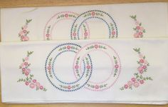 """Finished White """"Wedding Ring"""" Hand Embroidered Pillowcases, set of 2, Ready to ship, wedding shower gift, bridal shower gift"""