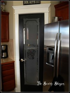 Interior, Trendy Black Teak River Pantry Door Frozen Glass With Stainless Double Doors Refrigerator And Kitchen Cabinetry Set Modern Decor: ...