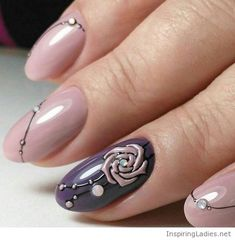 Nude nails with a little rose | Inspiring Ladies