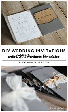 Planning a rustic or vintage-inspired wedding? Download this FREE Wedding Invitation Template and print out as many as you need! MountainModernLife.com