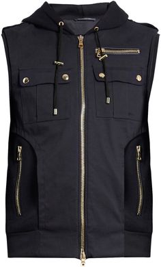 BALMAIN Panelled wool-blend twill hooded gilet Mens Wool Coats, Balmain, Wool Blend, Hoods, Menswear, Stylish, Shopping, Collection, Cowls