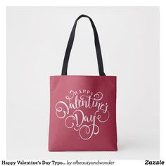 Happy Valentine's Day Typography   Tote Bag Edge Design, Personalized Products, Happy Valentines Day, Typography, Reusable Tote Bags, Elegant, Simple, Classic, Top