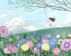 Flower Field with Girl on a Swing - Print of Painting