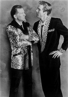 """1989 - Jerry Lee Lewis (left) and Dennis Quaid in an Orion Pictures Corp. publicity still for the movie, """"Great Balls of Fire""""."""