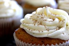 Pumpkin Cupcakes with Cream Cheese Frosting ~