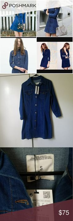 Zara denim mini dress NWT Chic denim dress. NWT. Size small. Material is stretchy and comfortable. Zara Dresses