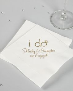 Ga-ga for galas? Whatever the theme may be for the wedding or bridal shower you are throwing, you'll want to have these personalized bridal napkins on hand. Wedding Dinner, Wedding Rehearsal, Casual Wedding, Wedding Menu, Fall Wedding, Wedding Favors, Destination Wedding, Dream Wedding, Wedding Ideas