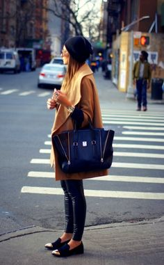 Oversized coat and bag.