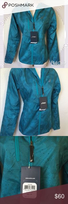 Asics Fuji Packable jacket-- NWT! Awesome jacket by Asics.. Cute turquoise color, lightweight, and weather resistant with front pocket.. Brand new with tags! Size XS Asics Jackets & Coats