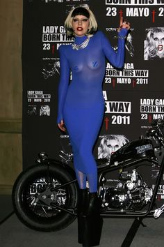 Lady Gaga wears a see-through blue dress in Mexico