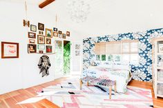 Domino shares a stunning home in Silverlake, Los Angeles. The home of designers Jason O'Dell and Laura O'Dell is breathtaking with Southern Cali-influenced touches, wallpaper and cozy furnishings. For more home tours go to Domino. Small Room Bedroom, Bedroom Decor, Bedroom Ideas, White Bedroom, Light Bedroom, Serene Bedroom, Master Bedrooms, Bedroom Inspo, Funky Lighting