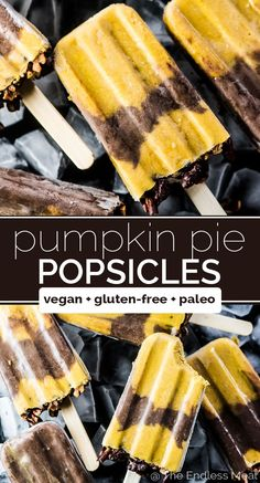 SAVE FOR LATER! Pumpkin Pie Popsicles layered with chocolate make the best healthy autumn treat. Just because the weather is getting cooler doesn't mean we need to stop eating icy desserts. Healthy Popsicle Recipes, Healthy Popsicles, Healthy Dessert Recipes, Healthy Desserts, Whole Food Recipes, Healthy Sweets, Best Gluten Free Recipes, Fall Recipes, Thm Recipes