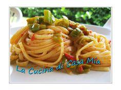 LINGUINE PICCANTI CON FRIGGITELLI E 'NDUJA CALABRESE  Ecco la mia versione della ricetta di Rosa!!!!  Per 4 persone:  420 gr di linguine,400 gr di peperoni friggitelli,50 gr di 'nduja piccante,mezza cipolla,mezzo cucchiaino di aglio secco in polvere,250 gr di polpa di pomodoro fresco,olio q.b.,vino bianco q.b.,sale q.b.