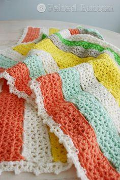 Botón de fieltro - Crochet Patterns Colorful: Un Patrón Manta libre del ganchillo para USTED!