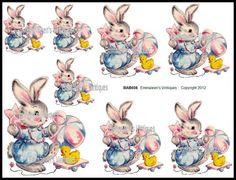 Vintage Nursery Baby Bunny Waterslide Decals by emmaleensvintiques