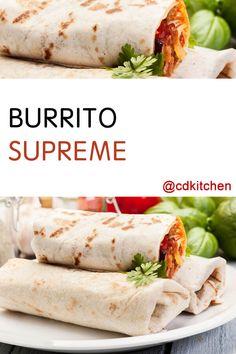 If you're looking for an easy and delicious burrito recipe, look no further. Seasoned beef, refried beans and a heap of fresh veggies stuffed into a tortilla make up this fresh, filling dish. Authentic Mexican Recipes, Mexican Food Recipes, Mexican Desserts, Spanish Recipes, Beef Burrito Recipe, Veggie Burrito, Taco Bell Burrito Supreme Recipe, Gastronomia, Beef Recipes