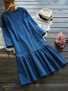 Casual O-neck Pockets Pleated Women Denim Dresses - Street Style Outfits Modest Fashion, Hijab Fashion, Boho Fashion, Fashion Dresses, Fashion 2017, Trendy Fashion, Fashion Ideas, Street Style Outfits, Mode Outfits