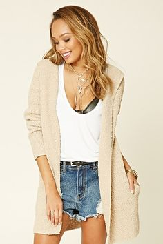 Ball Knit Open-Front Cardigan