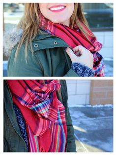 plaid scarf + red lip